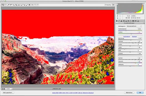Histogramm Lichterwarnung Photoshop