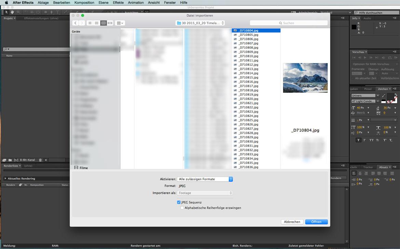 Importieren der Sequenz oder des Videos.