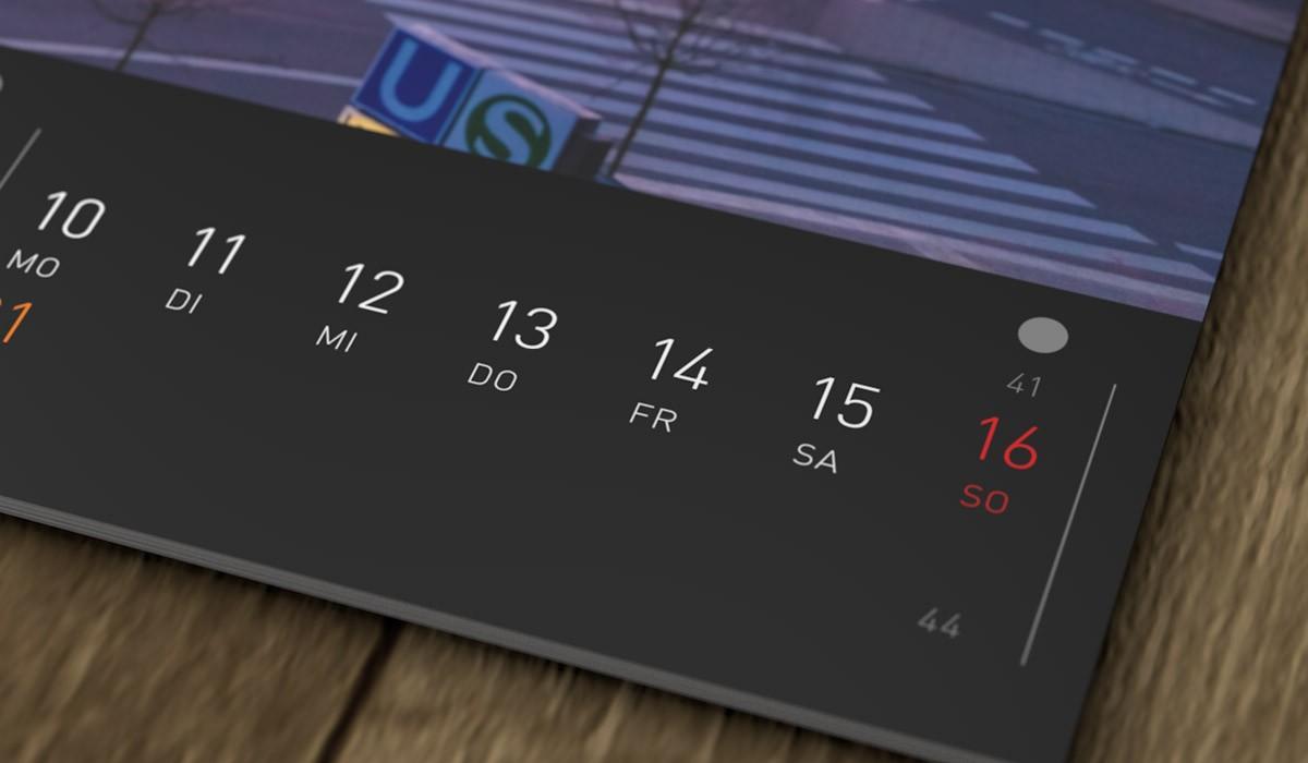 Selbstgestaltetes Kalendarium des Bildkalenders.