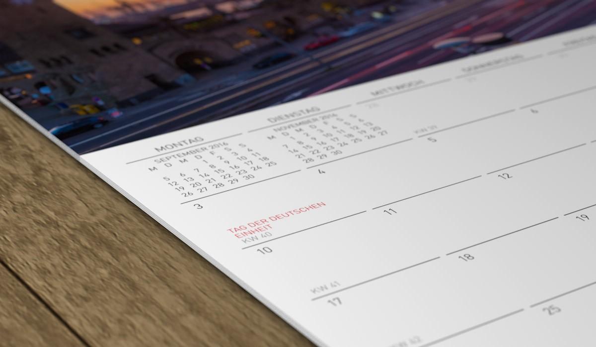 Selbstgestaltetes Kalendarium des Jahresplaners.